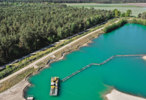 Aerial,Photograph,Of,A,Suction,Dredger,In,A,Wet,Mining
